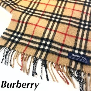 Burberry Lambswool Scarf Check Print Tan Large